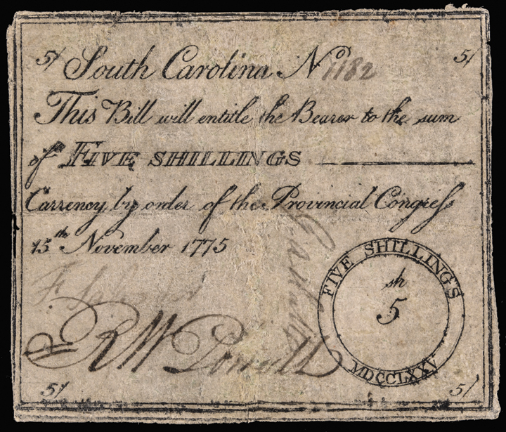 November 15 1775 FRANCIS SALVADOR Signed South Carolina Provincial Congress Note
