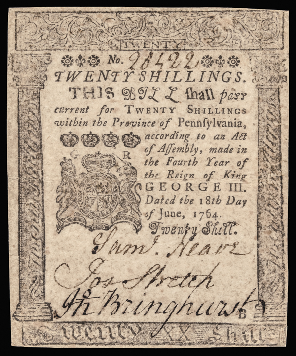 Colonial Currency, Penn. June 18, 1764 Crisp BENJAMIN FRANKLIN Note PCGS AU-50