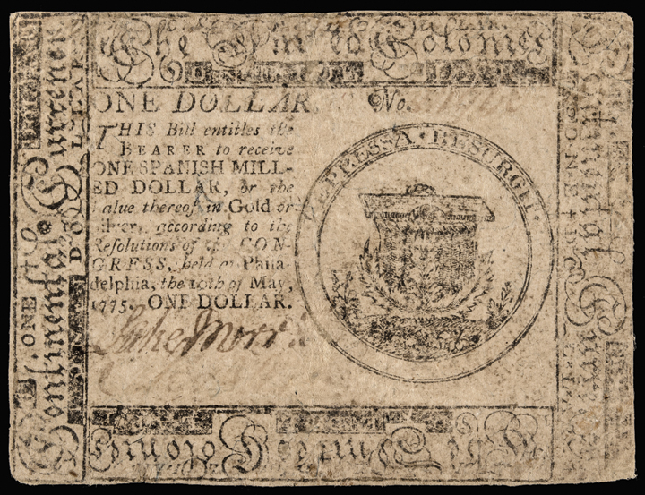 Continental Currency. May 10, 1775. One Dollar. FR CC-1. First Continental Issue