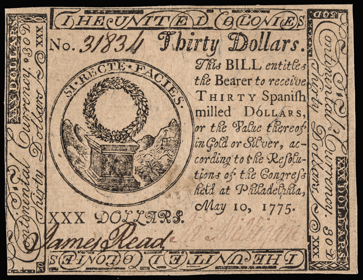 Continental Currency, May 10, 1775 Thirty Dollars First Issue. Choice Crisp UNC.