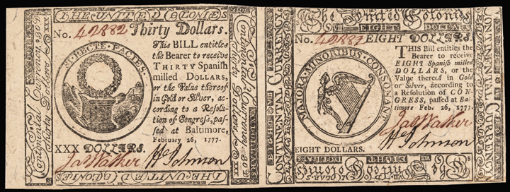 Continential Currency February 26, 1777 Uncut Pair $8 and $30 Choice and Gem UNC