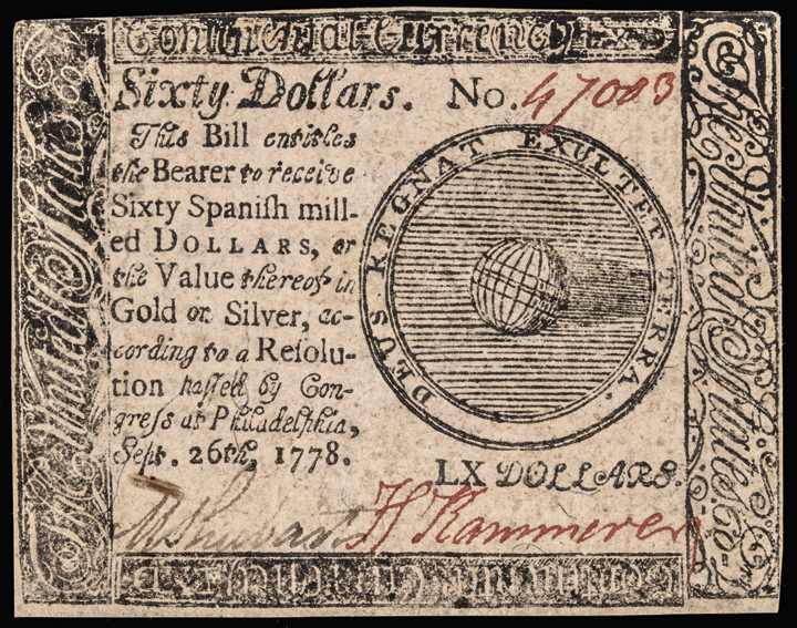 Continental Currency. Jan 14, 1779 2 Notes Both $60 1 Counterfeit