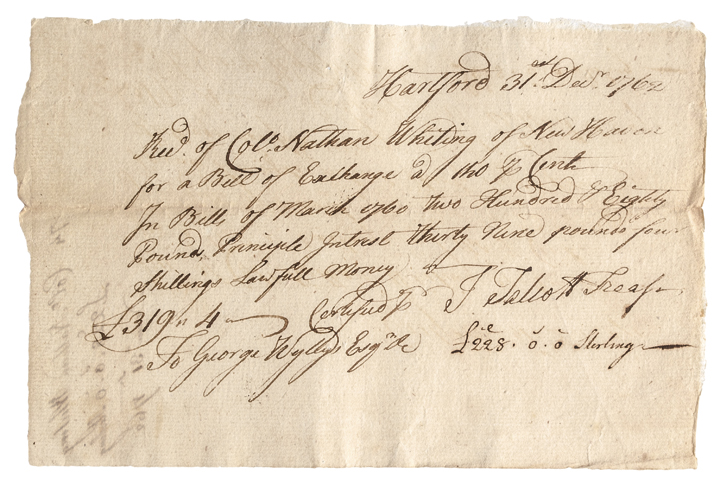 December 31, 1762, Bill of Exchange Receipt, Hartford Connecticut