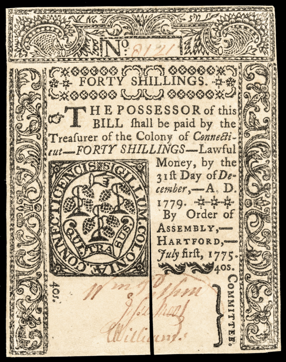 Colonial Currency, CT. July 1, 1775. 40s. Gem Crisp Uncirculated