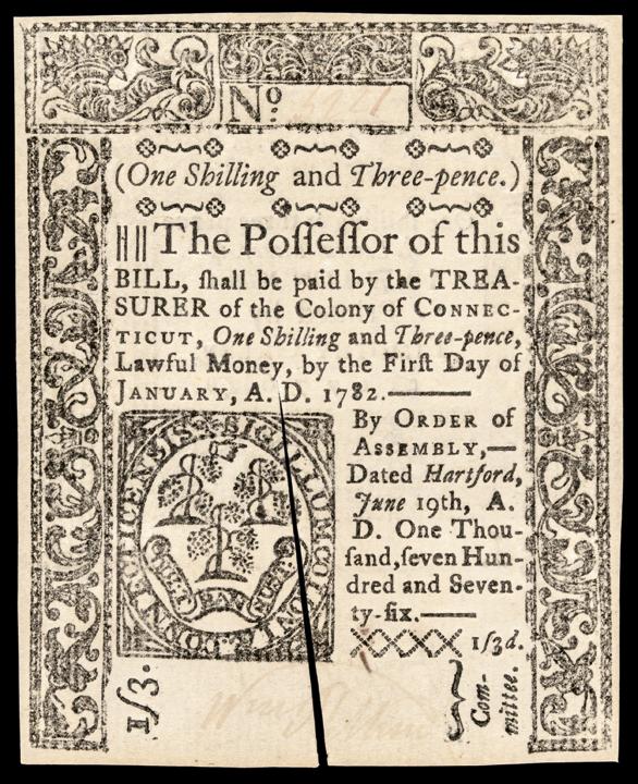 Colonial Currency Note, Connecticut. June 19, 1776. 1s3d GEM Crisp Uncirculated