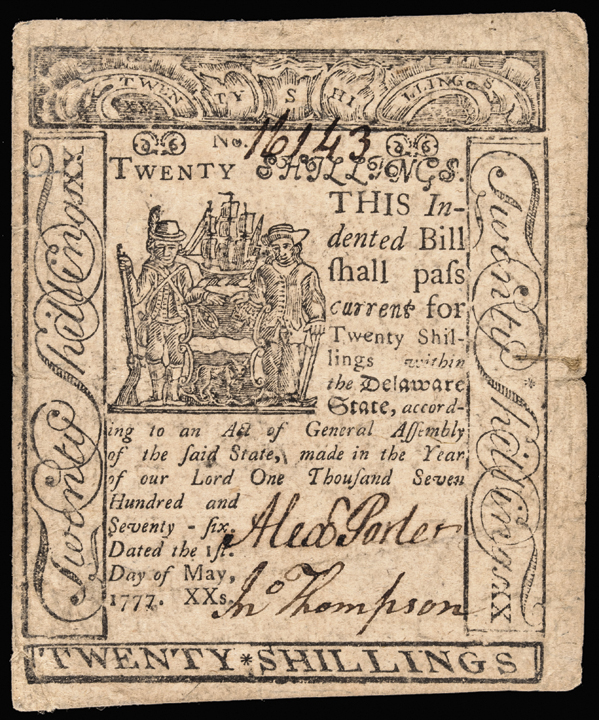 Colonial Currency, State of Delaware. May 1, 1777. Twenty Shillings. Choice VF