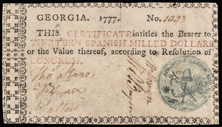 Colonial Currency, Georgia 1777 13 Dollars Liberty Cap/Cornucopia Seal PCGS VF20