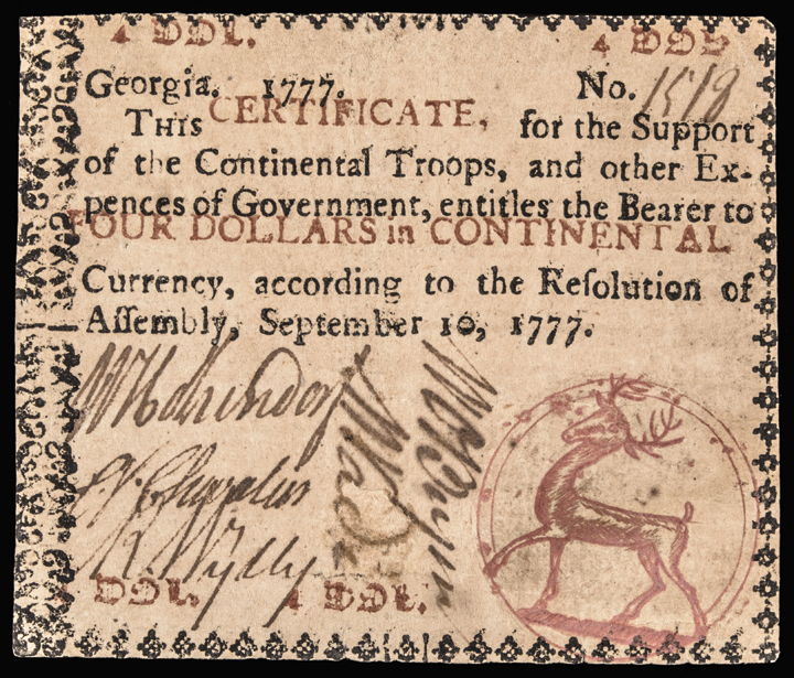 Colonial Currency, Georgia Sept. 10, 1777 $4 Red Stag Seal About Extremely Fine