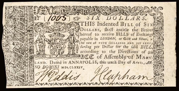 Colonial Currency, MD. April 10, 1774 Six Dollars Choice Extremely Fine