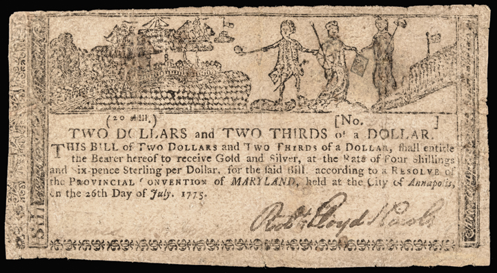 Colonial Currency, Maryland July 26, 1775 Allegorical - Gunpowder Political Note