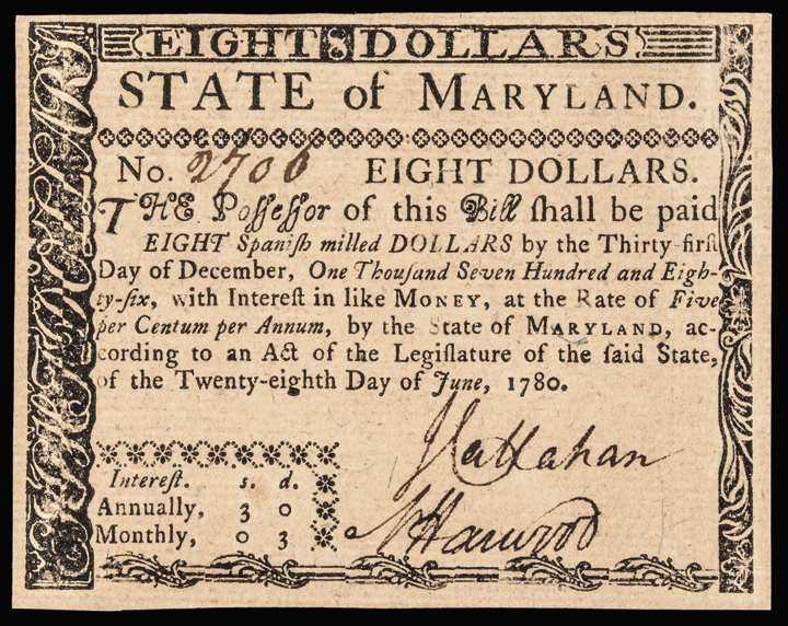 Colonial Currency, MD. June 28 1780, $8. Fully Signed + Issued Gem UNC