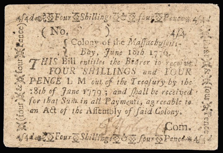 Colonial Currency, Massachusetts June 18, 1776 4s4d Note Choice Extremely Fine
