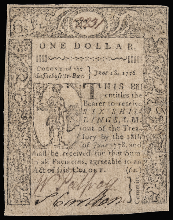 Colonial Currency, Exceedingly Rare, Genuine, MA, June 18, 1776, $1, PMG EF-40