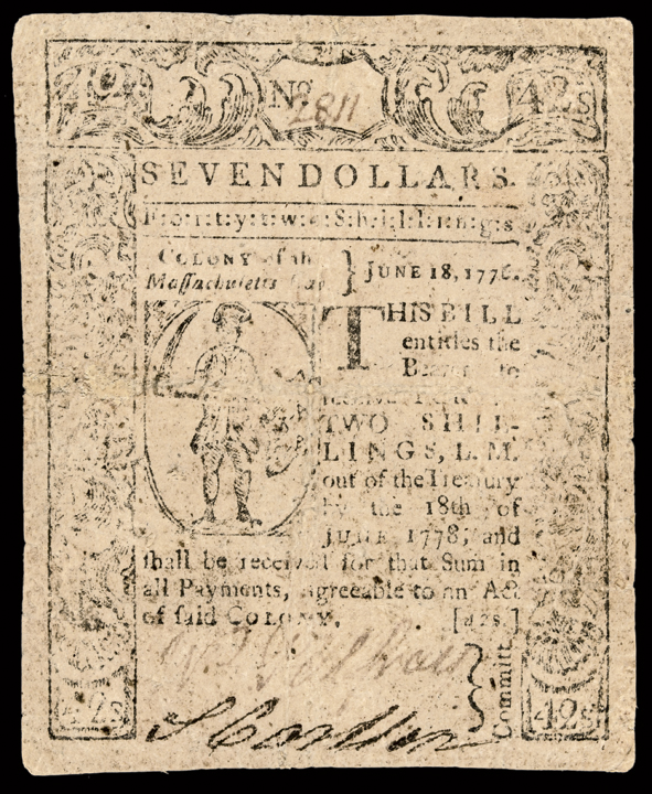 Colonial Currency, Massachusetts. June 18, 1776. Seven Dollars. Genuine Note!