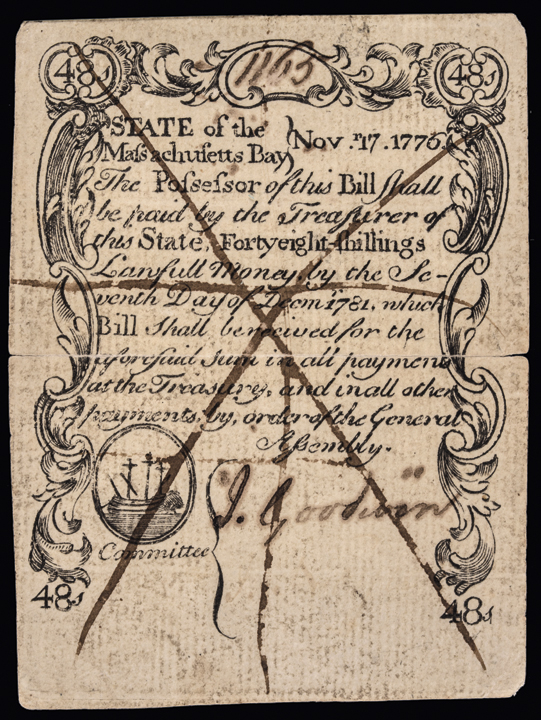 Colonial Currency. MA. November 17, 1776. 48s. Counterfeit. PCGS AU-50