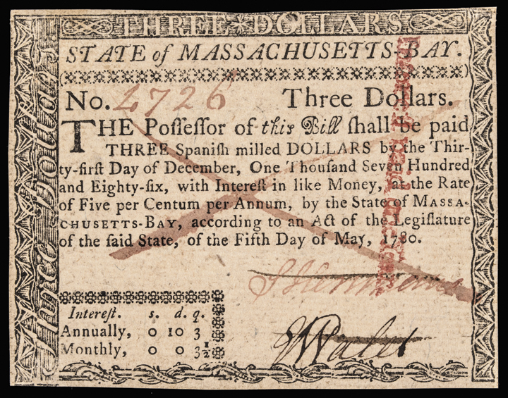 Colonial Currency, Mass. May 5, 1780 $3 Fully Signed and Issued Crisp UNC