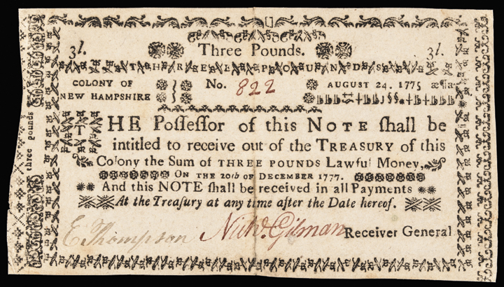 Colonial Currency, NH. August 24, 1775, 3 Pounds. Genuine and Not Cancelled