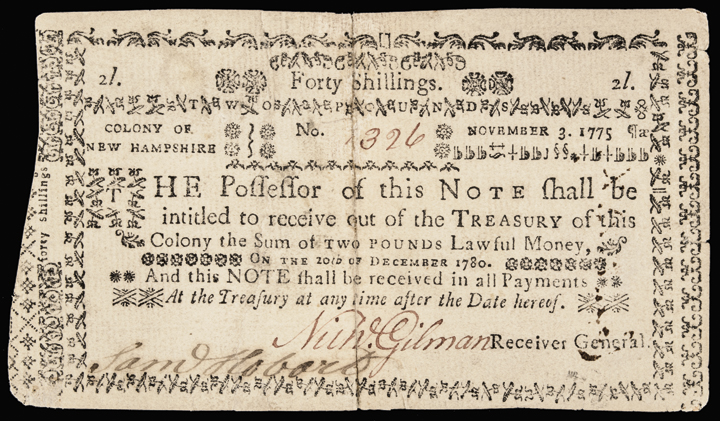 Colonial Currency. New Hampshire. November 3, 1775. Forty Shillings No Cancel