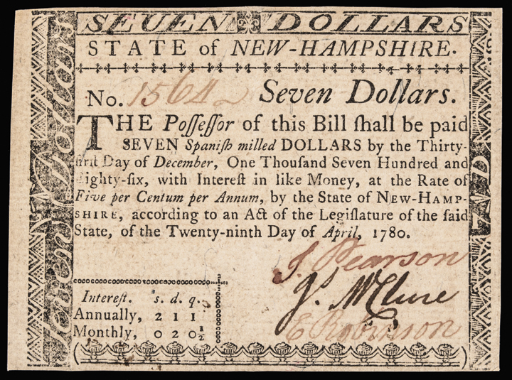 Colonial Currency, NH. April 29, 1780 $7. Fully Signed No Cancel Choice Crisp AU
