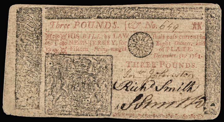 Colonial Currency, New Jersey December 31, 1763. 3 Pounds PCGS Very Fine-30