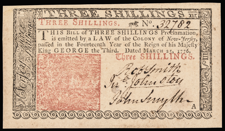 Colonial Currency, New Jersey March 25, 1776 3 Shillings Ch. Crisp Uncirculated
