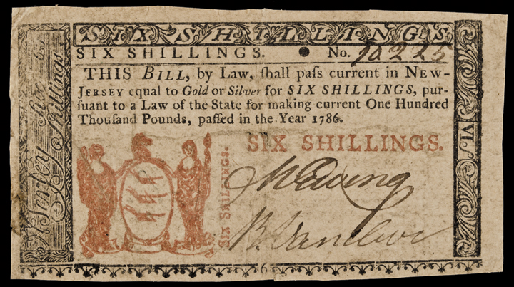 Colonial Currency, NJ, 1786, 6s, BEES Reverse, PMG graded Fine-12
