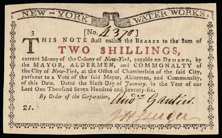 Colonial Currency Note, 1776. New York Water Works. Two Shillings. Uncirculated