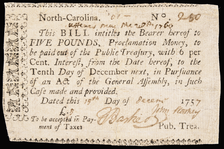 Colonial Currency, North Carolina. November 21, 1757. 5. The Finest Known