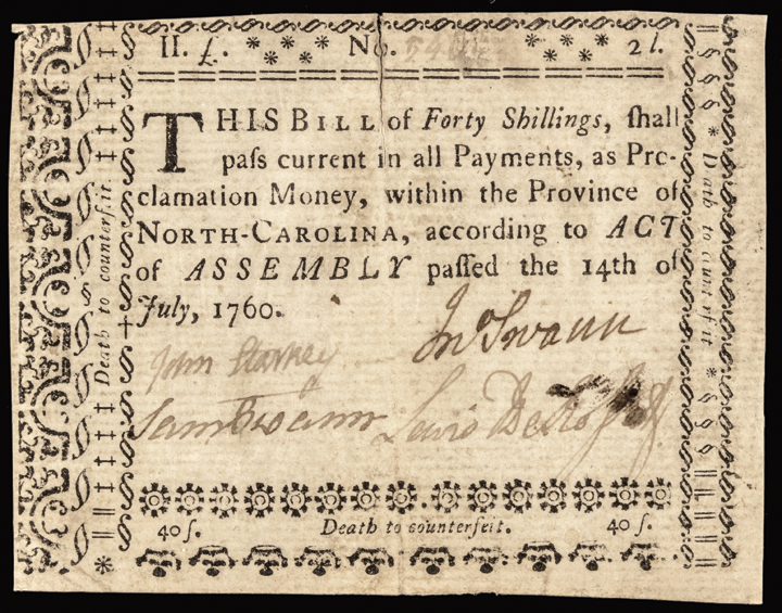 Colonial Currency, NC, July 14, 1760. 40 Shillings. PCGS Extremely Fine-40