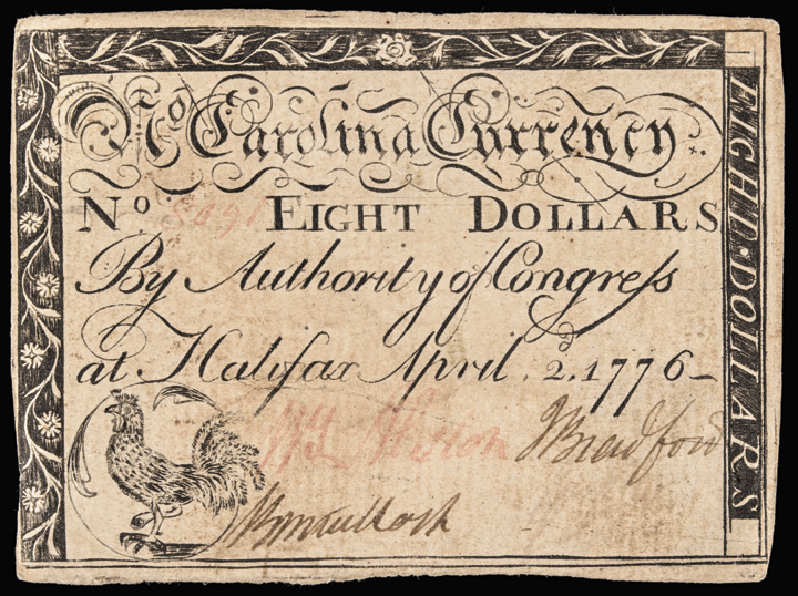 Colonial Currency NC. April 2, 1776 Eight Dollars. Rooster. Choice Crisp EF
