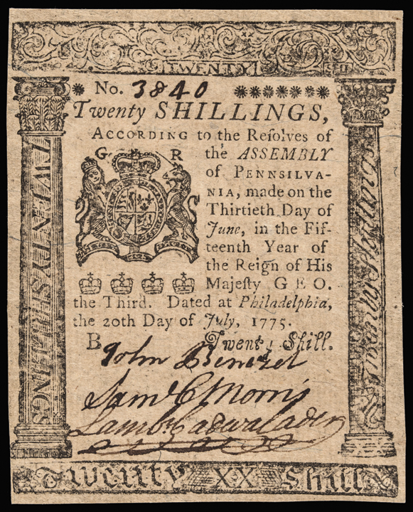 Colonial Currency, PA, July 20, 1775 20 Shillings GEM Crisp UNC
