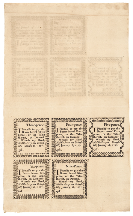 Colonial Currency, PA. Gem Uncut Full Double Sheet of Ten January 18, 1777 Notes