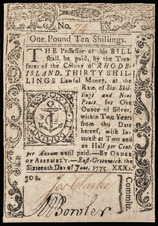 Colonial Currency, RI, June 16, 1775, 1 10s