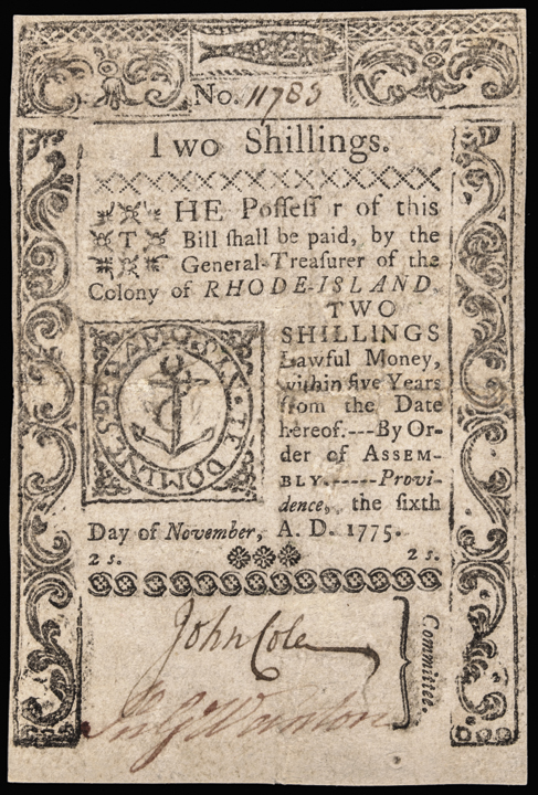 Colonial Currency, Rhode Island. November 6, 1775. Two Shillings. PCGS VF-30