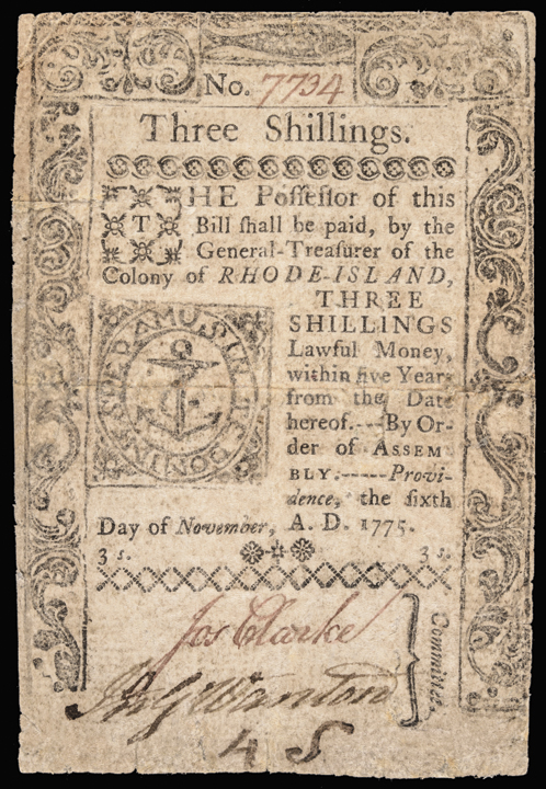Colonial Currency, RI, November 6, 1775, 3sThree Shillings. Choice Fine
