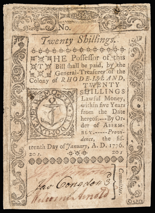 Colonial Currency, Rhode Island January 15, 1776 20 Shillings Abt Extremely Fine