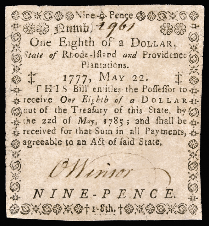 Colonial Currency, RI. May 22, 1777. One Eighth of a Dollar. Choice Very Fine