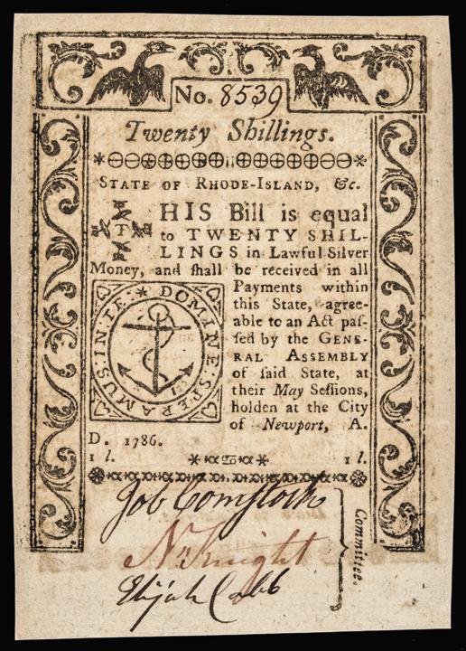 Colonial Currency. Rhode Island May 1786 Twenty Shillings GEM Crisp Uncirculated