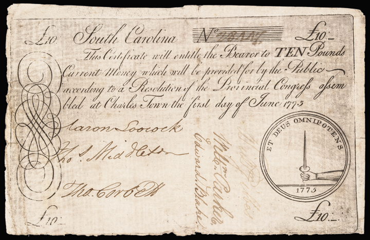 Colonial Currency, SC. June 1 1775, 10 Pounds Hand Holding a Sword Ch. About EF