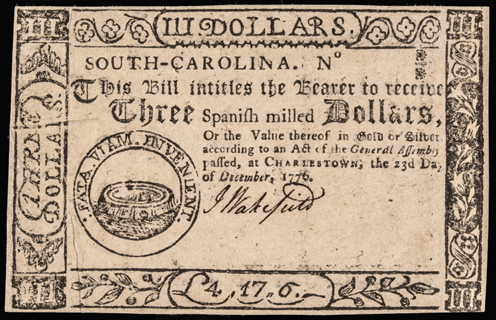 Colonial Currency, SC. December 23, 1776. Three Dollars. Oracle. Ch UNC