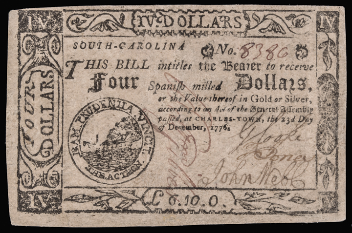 Colonial Currency. South Carolina. December 23, 1776 Fully Signed. PMG EF-40