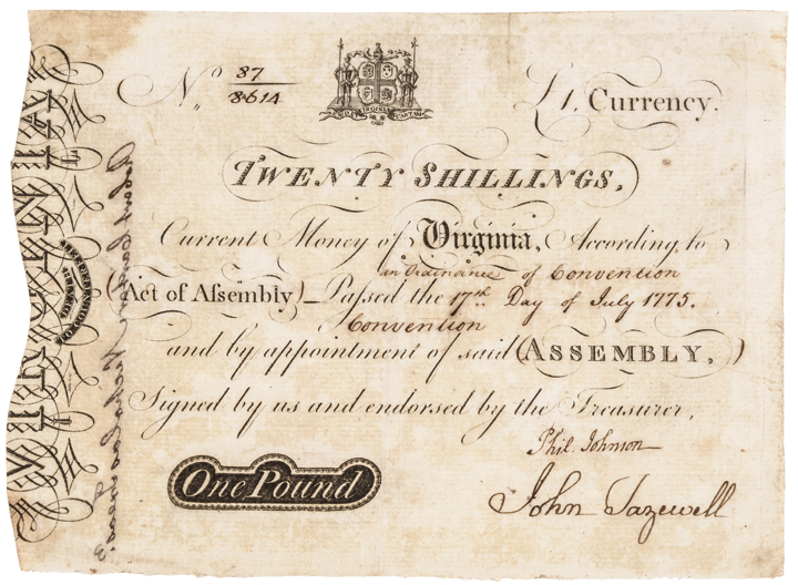 Colonial Currency Note, VA, July 17, 1775 20s, Engraved Large ASHBY Form