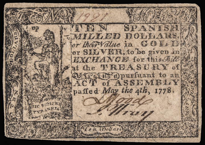 Colonial Currency, VA, May 4, 1778. 10 Dollars. Thick Paper. PMG Ch VF-35