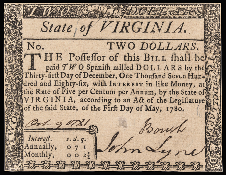 Colonial Currency, Virginia. May 1, 1780 $2 Fully Signed Guaranteed Issue GEM CU