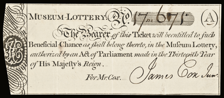 c. 1773 Cox's Museum - LOTTERY Ticket. Choice Extremely Fine