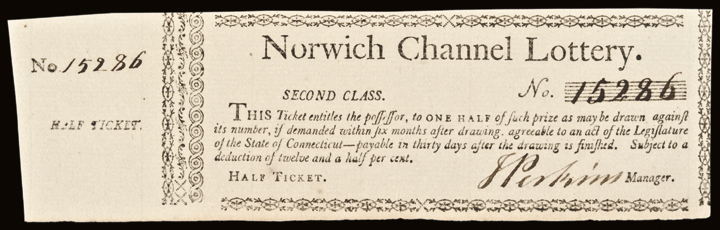 c. 1780 Norwich Channel (Connecticut) Lottery Ticket. Second Class. Superb CU