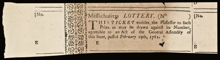 February 19, 1781. Massachusetts Lottery Ticket, Extremely Fine