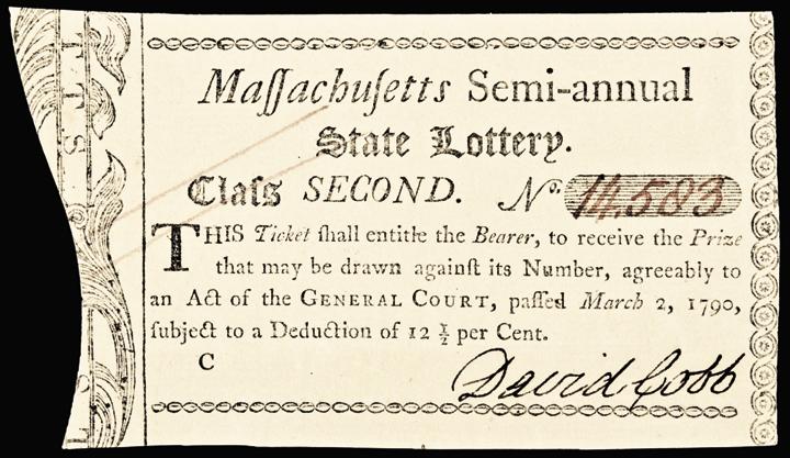 March 2, 1790 Massachusetts Semi-annual State Lottery Ticket. Choice Crisp AU