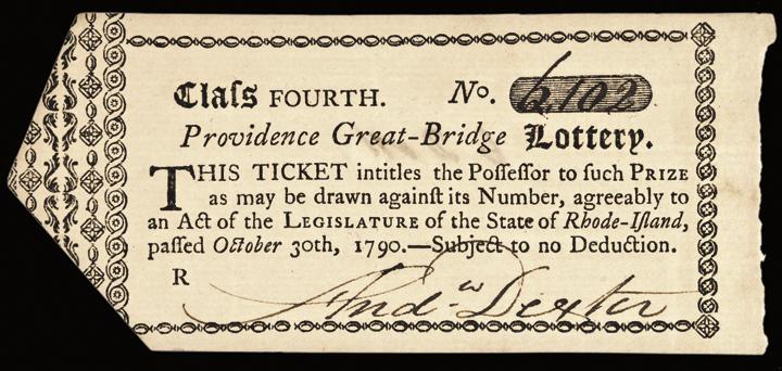 1790 RI. Providence Great-Bridge Lottery Ticket