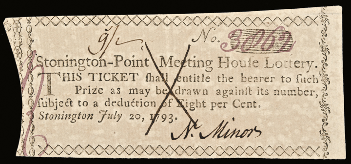 1793 Stonington-Point Meeting House (CT) Lottery Ticket. Crisp Uncirculated